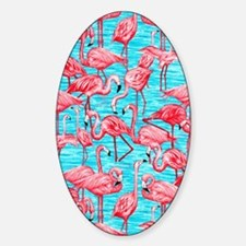 Flamingos Sticker (Oval)