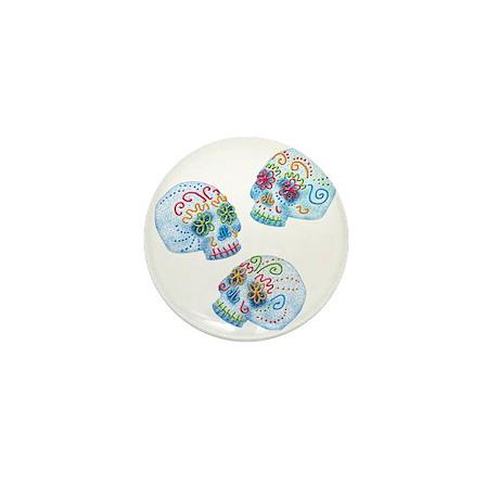 sugar-skull-allover_3-tr Mini Button