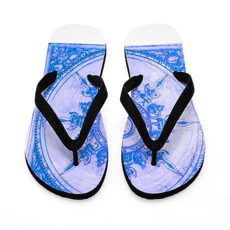 wind rose blue Flip Flops