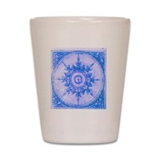 wind rose blue Shot Glass