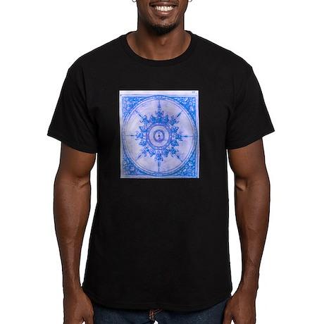 wind rose blue Men's Fitted T-Shirt (dark)