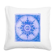 wind rose blue Square Canvas Pillow