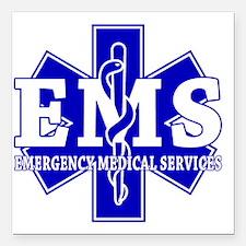 "star of life - blue EMS  Square Car Magnet 3"" x 3"""