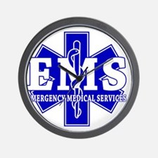 star of life - blue EMS word Wall Clock