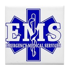 star of life - blue EMS word Tile Coaster