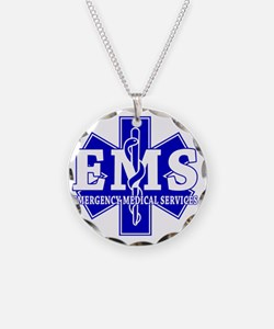 star of life - blue EMS word Necklace