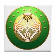 celtic cross shield two Tile Coaster