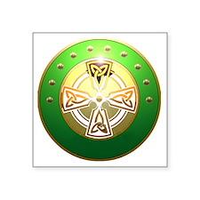 """celtic cross shield two Square Sticker 3"""" x 3"""""""