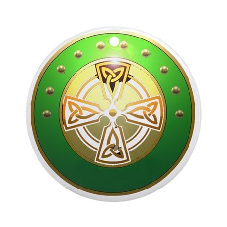 celtic cross shield two Round Ornament