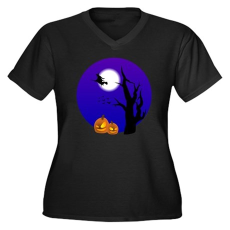 halloween2 Women's Plus Size Dark V-Neck T-Shirt