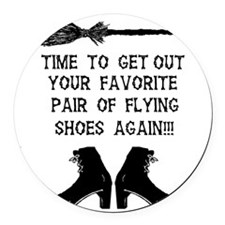 ZAZZLE RUBBERSTAMP FLYING SHOES Round Car Magnet