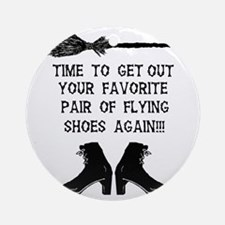 ZAZZLE RUBBERSTAMP FLYING SHOES Round Ornament
