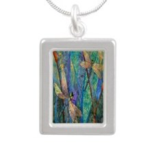 Colorful Dragonflies Silver Portrait Necklace