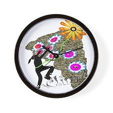 Young Girl Flower Climber Wall Clock