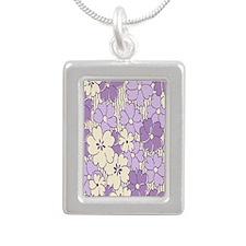 purple flower nook Silver Portrait Necklace