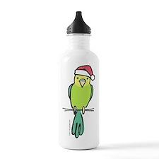 parakeet_green_santa Water Bottle