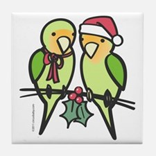lovebirds_santa Tile Coaster