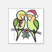 """lovebirds_santa Square Sticker 3"""" x 3"""""""