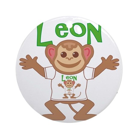 leon-b-monkey Round Ornament