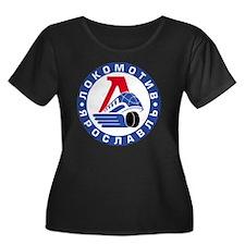Lokomoti Women's Plus Size Dark Scoop Neck T-Shirt