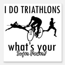 "triathlons Square Car Magnet 3"" x 3"""