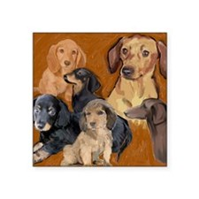 "dachshunds_mural3 Square Sticker 3"" x 3"""