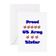 US Army Sister Greeting Cards (Pk of 10)