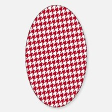 Crimson  White Sticker (Oval)