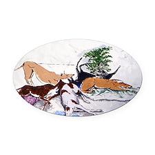 Hound Nap 1 blanket Oval Car Magnet