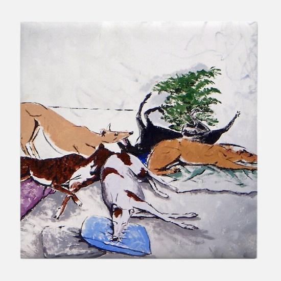 Hound Nap 1 blanket Tile Coaster