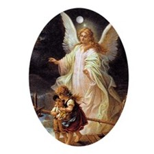 guardian angel Oval Ornament