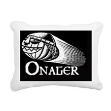 White on Black woodcut - Rectangular Canvas Pillow