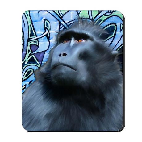 Card-Black-Macaque Mousepad
