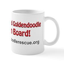Rescued goldendoodle on board 10x3 Mug