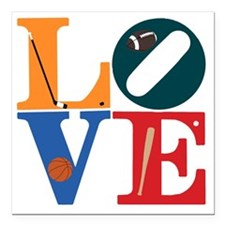 """Philly Sports Love Square Car Magnet 3"""" x 3"""""""
