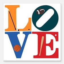 "Philly Sports Love Square Car Magnet 3"" x 3"""
