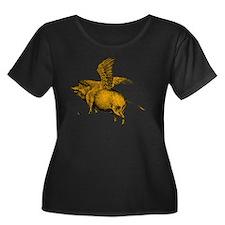 When Pig Women's Plus Size Dark Scoop Neck T-Shirt