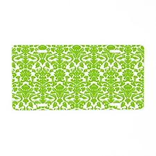 green damask pattern Aluminum License Plate
