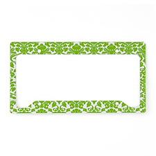 green damask pattern License Plate Holder