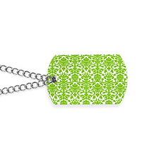 green damask pattern Dog Tags