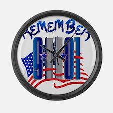 Remember 9/11 - 9-11-01 Twin Towe Large Wall Clock