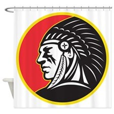 Native American Indian Chief Side Shower Curtain