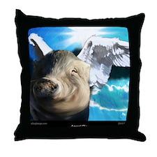 Angel-Pig-Large-Framed-Print Throw Pillow