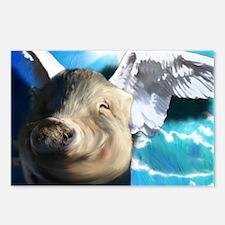 Angel-Pig-Large-Framed-Pr Postcards (Package of 8)