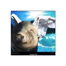 "Angel-Pig-Large-Framed-Prin Square Sticker 3"" x 3"""