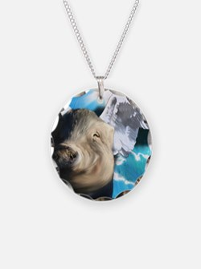 Angel-Pig-Large-Framed-Print Necklace