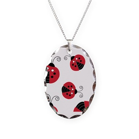 Red Ladybug Kindle Sleeve Necklace Oval Charm