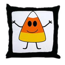 Cute Candy Corn Halloween Throw Pillow