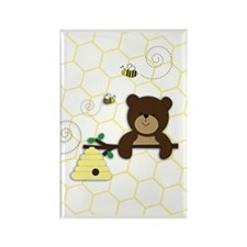 Brown Bear and Bee Rectangle Magnet