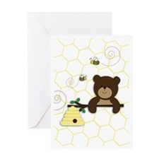 Brown Bear and Bee Greeting Card